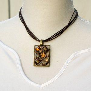 Park Lane Chocolat Necklace, Retired Orange Brown